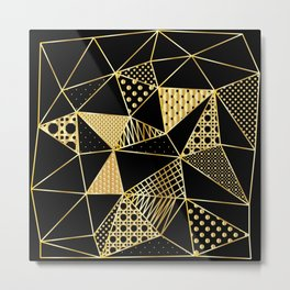 gold geometric with pattern Metal Print