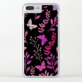 Watercolor flowers & butterflies III Clear iPhone Case