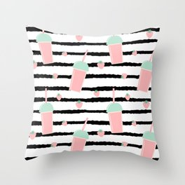 cute lovely pattern background with strawberry smoothies on black brush Throw Pillow