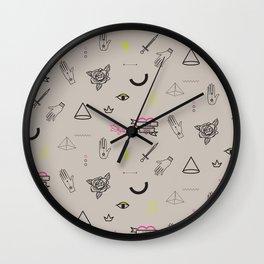 Tattoo doodles pattern Wall Clock