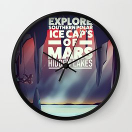 Explore the Southern ice caps of Mars Hidden Lakes. Wall Clock