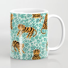 Tigers and Leaves Print Coffee Mug