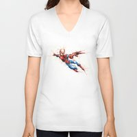 spider man V-neck T-shirts featuring Spider-Man by Nicola Girello