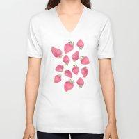 strawberry V-neck T-shirts featuring Strawberry  by Marta Olga Klara