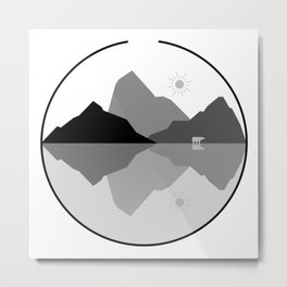 Gray Scale Nature with Bear Metal Print