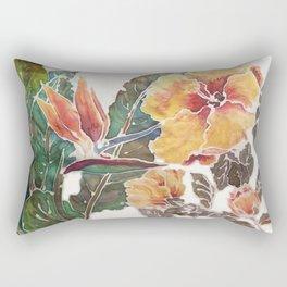 silk hibiscus and bird of paradise Rectangular Pillow