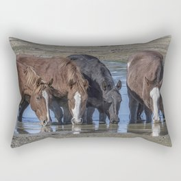 Mustangs Sharing What's Left of the Water Rectangular Pillow