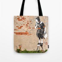 banksy Tote Bags featuring Banksy - Girl on Stool by Brandon Funkhouser