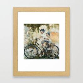 Children Ride Bicycle Graffiti Framed Art Print