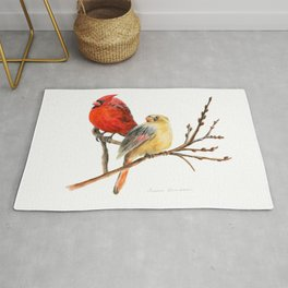 The Perfect Pair - Male and Female Cardinal by Teresa Thompson Rug
