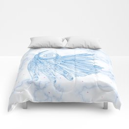 Beautiful Feathers on Blue Marble Design Comforters