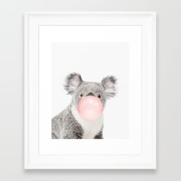 Funny koala with pink bubble gum Framed Art Print