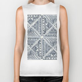Simply Tribal Tile in Indigo Blue on Lunar Gray Biker Tank