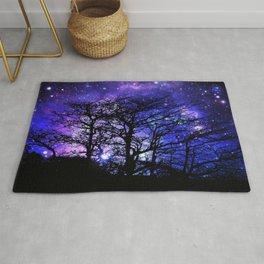 Black Trees Blue Violet Purple Space Rug