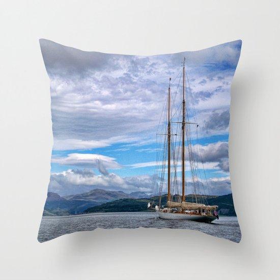 Schooner on the River Clyde Throw Pillow