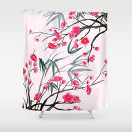 bamboo and red plum flowers in pink background Shower Curtain