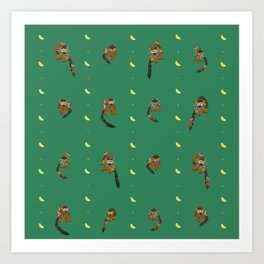Classic Bananas with Monkeys and Babies Pattern Art Print