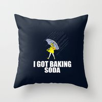 baking Throw Pillows featuring Baking Soda by Λdd1x7