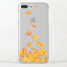 falling yellow leaves watercolor Clear iPhone Case