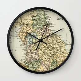 North England and Wales Vintage Map Wall Clock