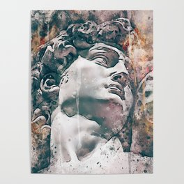Watercolor Statue Of King David - Modern Gallery Art Poster