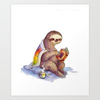 sloth Art Prints featuring Sloth by KteaCrumpet