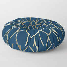 Floral Prints, Line Art, Navy Blue and Gold Floor Pillow
