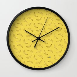 Bananas Pattern Yellow Wall Clock
