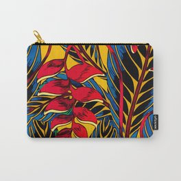Jungle Glam Falling Leaves Blue Gold Carry-All Pouch