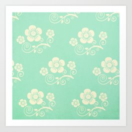 Plein Air Green Floral Pattern Design Art Print