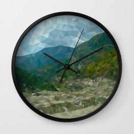 Mountain landscape in polygon technique Wall Clock