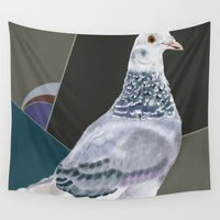 pigeon Wall Tapestries featuring Femke's Pigeon by Visual Condyle