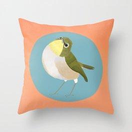 Silvereye Bird Throw Pillow