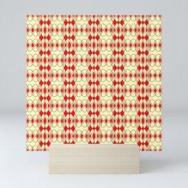 Red Lace Corset Diamond Abstract Geometric Lines Yellow Butter Cream Southwestern Design Pattern Mini Art Print