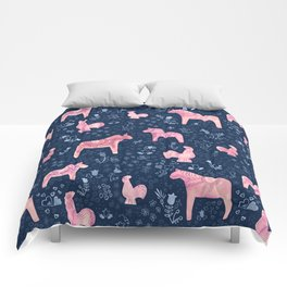 Swedish Dala Horse and Rooster Blue and Pink Pattern Comforters