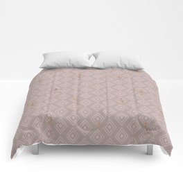 Lilac pink rustic geometrical abstract diamond pattern Comforters