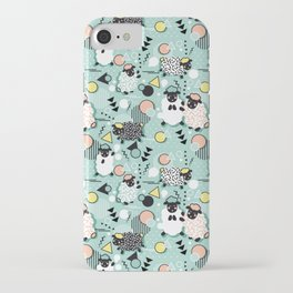 Mééé Memphis sheep // mint background iPhone Case