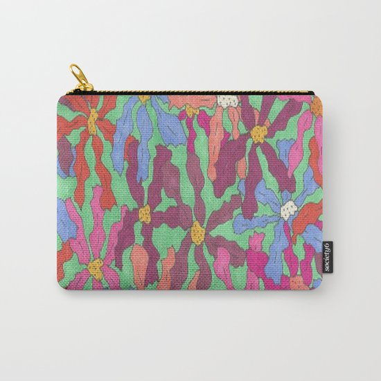 Colorful Retro Floral Print Carry-All Pouch