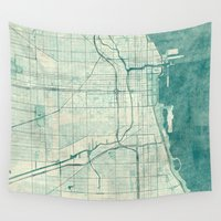 vintage map Wall Tapestries featuring Chicago Map Blue Vintage by City Art Posters