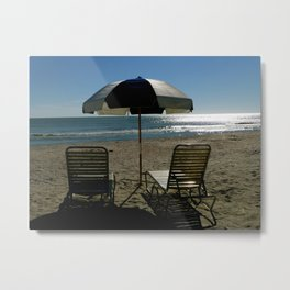 2 Chairs By The Sea.. Metal Print