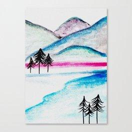 Watercolor blue landscape Canvas Print