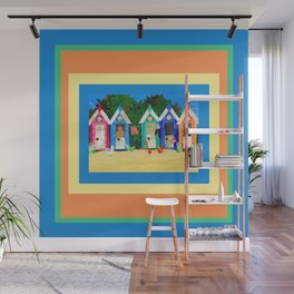 Colorful Beachhuts Wall Mural