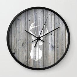 Hipster vintage white deer head on gray wood Wall Clock