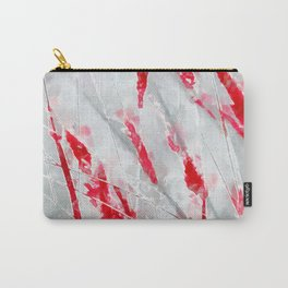 Winter Moods 1 - Cardinal Red and Icy Gray Nature Abstract Carry-All Pouch