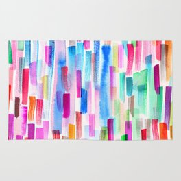 Colorful brushstrokes watercolor Rug