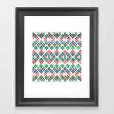 Green Red Geo Pattern Framed Art Print