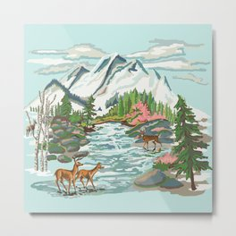 Paint by Number Mountain Medow Metal Print