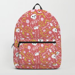Skeletons in Spring - sunglo red - white Backpack
