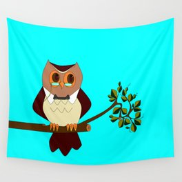 A Wise Ole Owl on a Branch Wall Tapestry