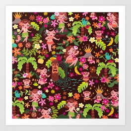 Hula Cuties Pattern Art Print